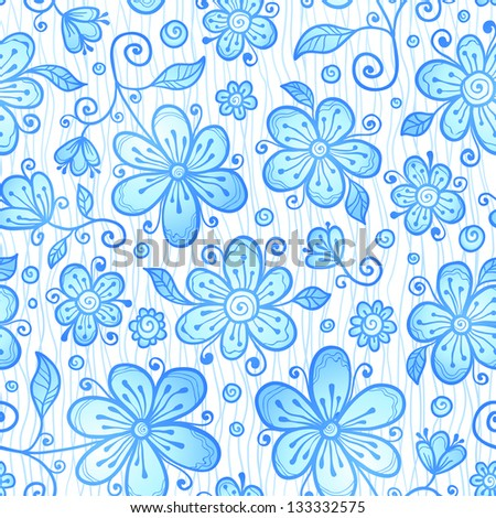 Blue line drawn flowers seamless pattern