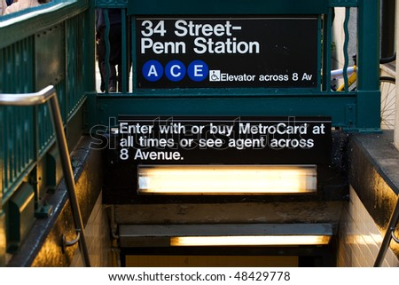 Blue line station of New York subway on 34th street, NYC