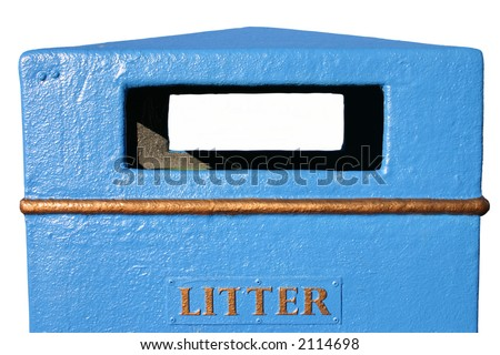 Blue litter bin with a white background