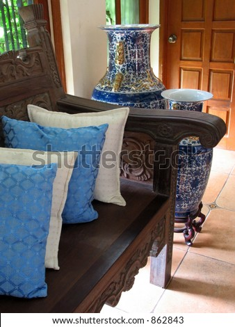Blue Living Room daytime - stock photo