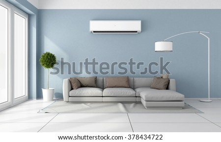 Shutterstock Blue living room with  gray sofa and air conditioner on wall - 3D Rendering