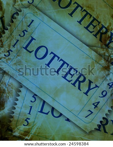 blue lottery tickets with a grunge touch upon it