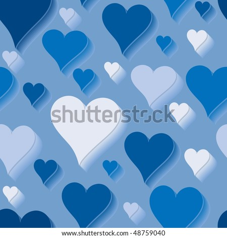 stock photo : Blue love. Seamlessly wallpaper valentine with hearts