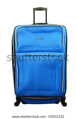 Blue luggage with trolley isolated over white