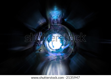 blue mage casting spell - stock photo