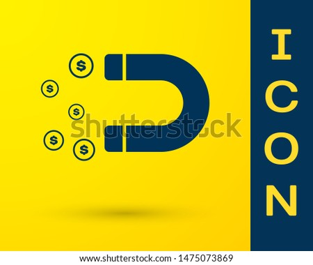 Blue Magnet with money icon isolated on yellow background. Concept of attracting investments, money. Big business profit attraction and success
