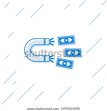 Blue Magnet with money line icon isolated on white background. Concept of attracting investments, money. Big business profit attraction and success