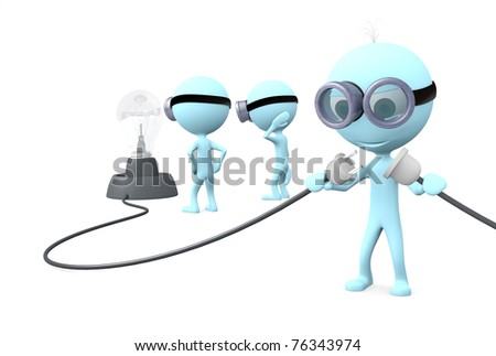 Blue man in glasses stands and connection wires on white background
