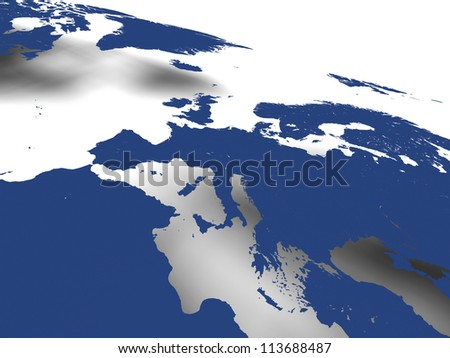 Blue map of european continent with soft shadow on white background. Elements of this image furnished by NASA