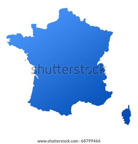 Blue map of France, isolated on white background with clipping path.