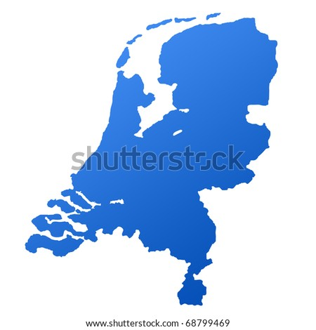 Blue map of Netherlands, isolated on white background with clipping path.