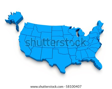 Blue map of USA. 3D render