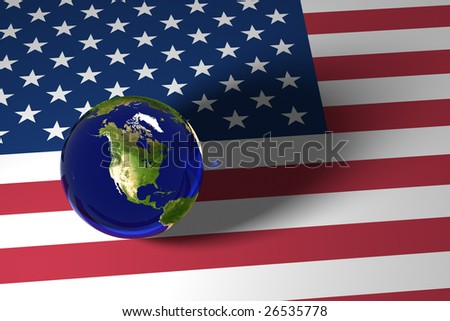 Blue Marble and US flag
