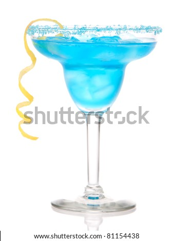 Blue Margarita cocktail drink with lemon twist in chilled salt rimmed glass with tequila, orange syrup, fresh mint, crushed ice in cocktails glass isolated on white background