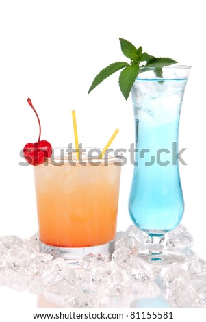 Blue margarita cocktail, Long island iced tea and tequila sunrise cocktails with alcohol, ice, maraschino cherry, straws, mint on a white background