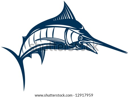 Blue marlin jumping - stock photo
