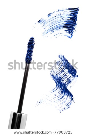 Blue mascara stroke and brush  isolated on white. Cosmetic product sample.
