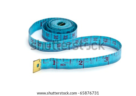 blue measuring tape  isolated on white