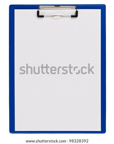 Blue medical clipboard with copy space isolated on white