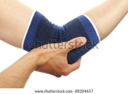 blue medicine bandage on injury elbow on white background