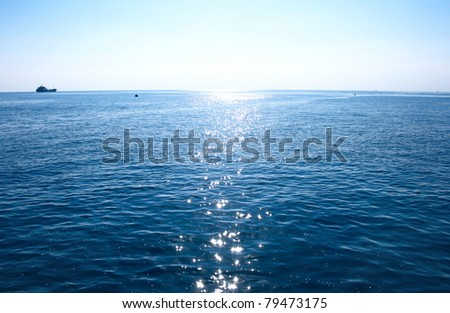Blue Mediterranean sea in morning.
