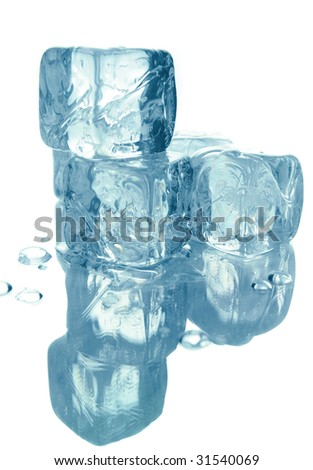 Blue melting ice cubes isolated over white background
