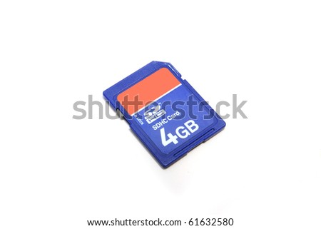 Blue memory SD. card,  isolated on white.