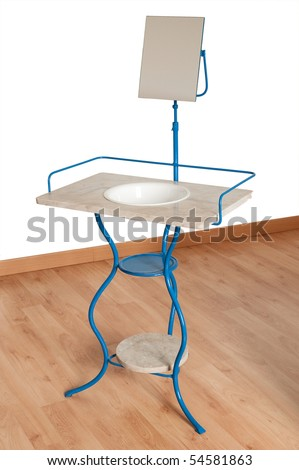 Blue metal and marble washstand