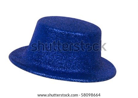 Blue metallic party hat on white background