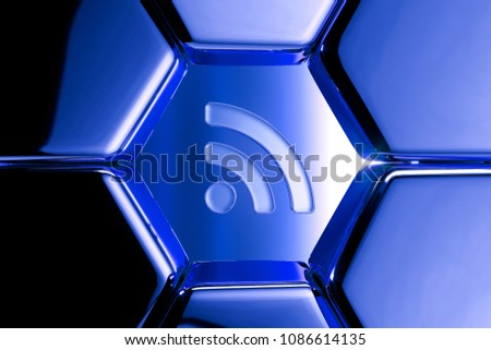Blue Metallic Rss Feed Icon in the Honeycomb Pattern. 3D Illustration of Blue Blog, Feed, News, Rss Icon Set on Geometric Hexagon Background.