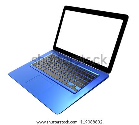 blue metallic ultra slim laptop computer with blank screen
