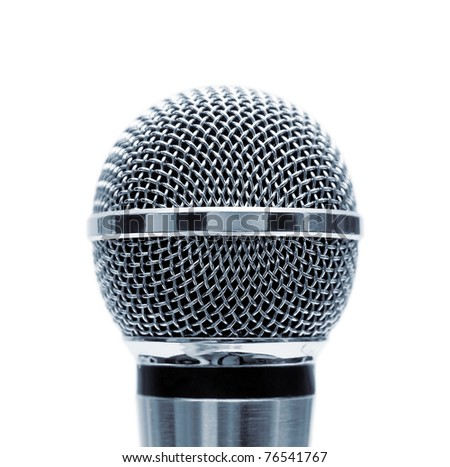 Blue microphone isolated on white background