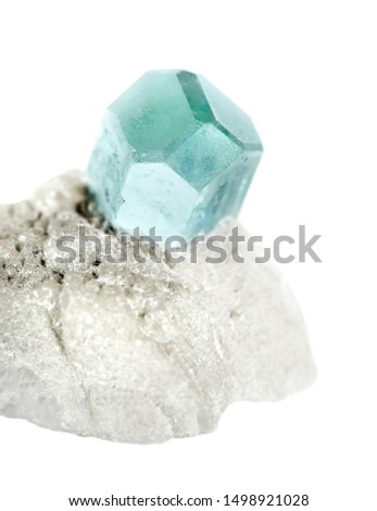 Blue mineral Beryl known as Aquamarine gemstone from Afghanistan, in an white albite matrix isolated on a white background #1498921028