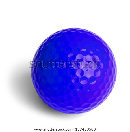 Blue Miniature Golf Ball Isolated On White Background.