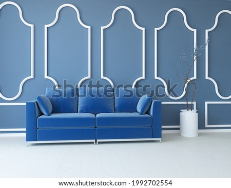 Blue minimalist living room interior with sofa on a wooden floor, decor on a large wall, white landscape in window. Home nordic interior. 3D illustration