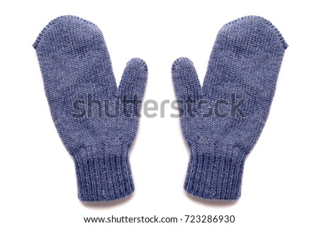 Blue mittens,isolated #723286930