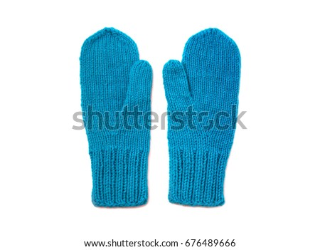 Blue mittens isolated on white background #676489666
