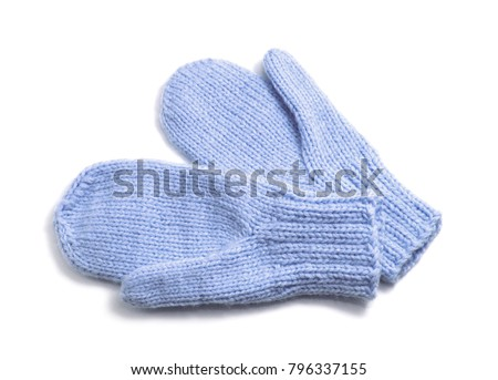 Blue mittens isolated on white background #796337155