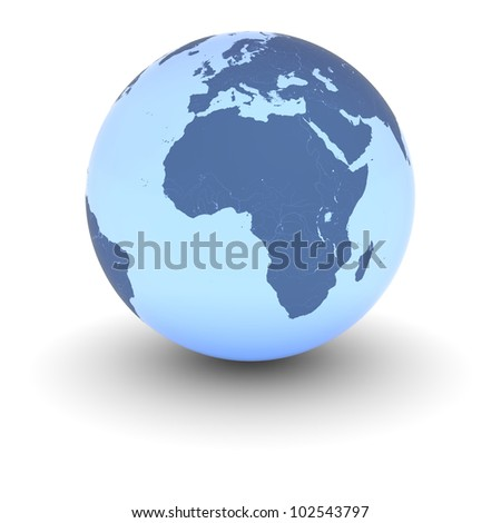 Blue model of Earth with slight glow isolated on white background. Elements of this image furnished by NASA