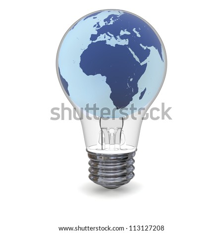Blue model of planet Earth inside lightbulb, concept of global energy solution