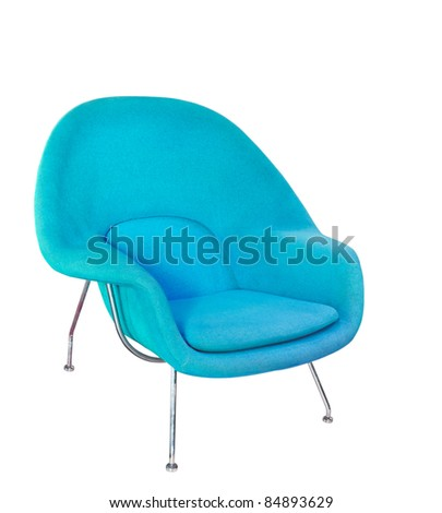 Blue modern armchair  isolated on white