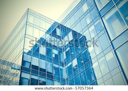 blue modern business buildings