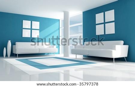 blue modern living room with two white velvet sofa - rendering