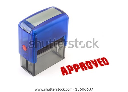 "Blue modern self-ink rubber stamp with red "" Approved "" stamp"