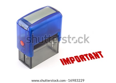 "Blue modern self-ink rubber stamp with red "" Important "" stamp"