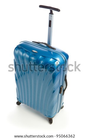 blue modern travel case isolated on white - stock photo