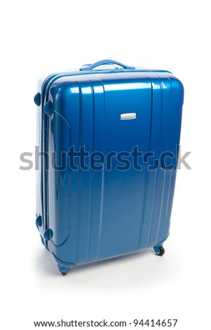 blue modern travel suitcase isolated on white