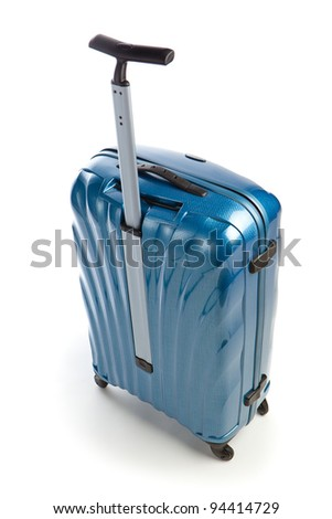 blue modern travel suitcase isolated on white - stock photo