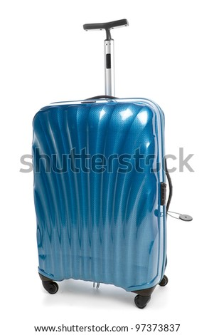 blue modern travel suitcase isolated on white