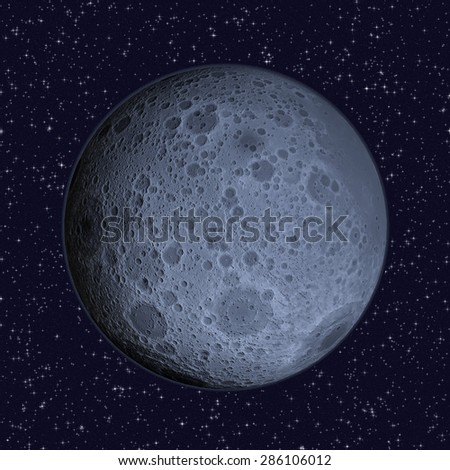 Blue Moon on starry sky background - 3D illustration of the Lunar far side (hemisphere of the Moon that always faces away from Earth) includes elements furnished by NASA.